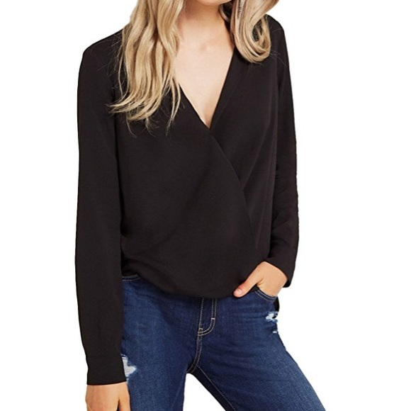 3a4f23f0b45 Black chiffon open v-neck wrap blouse